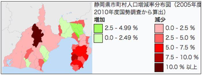 静岡県の人口分布